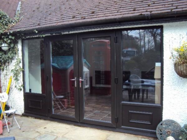 Black UPVC French Door Combination Frame