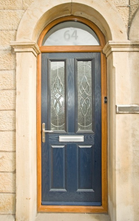 Golden Oak Arched frame & Veka blue Composite Door