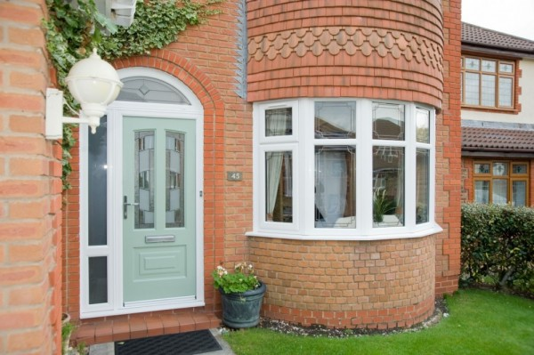 White UPVC Windows & Arched Composite Door