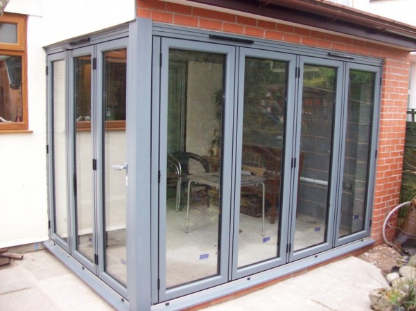 Light Grey Aluminum Bi-Folding Doors