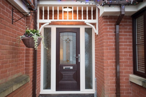 Rosewood Rock door with cream outer frame.