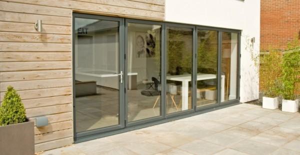 Anthracite grey Aluminum Bi-folding Doors