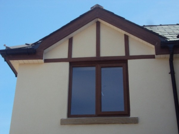 Golden Oak Fascias & White soffits