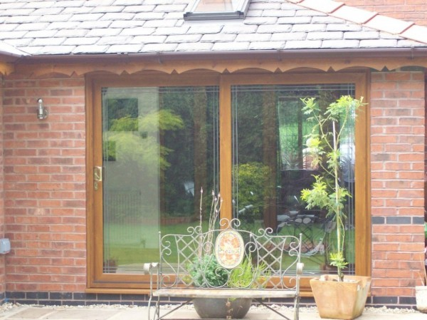Golden oak Sliding Patio Door