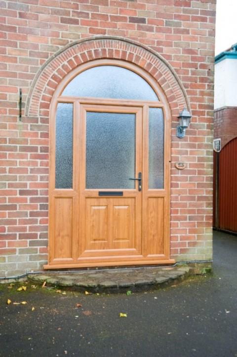 Golden Oak UPVC Arched Door