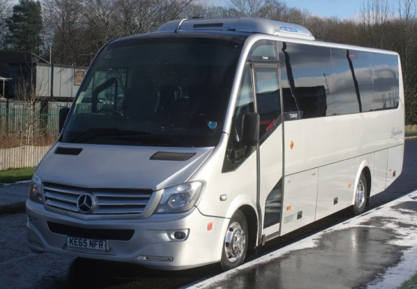 front/side view of mercedes coach