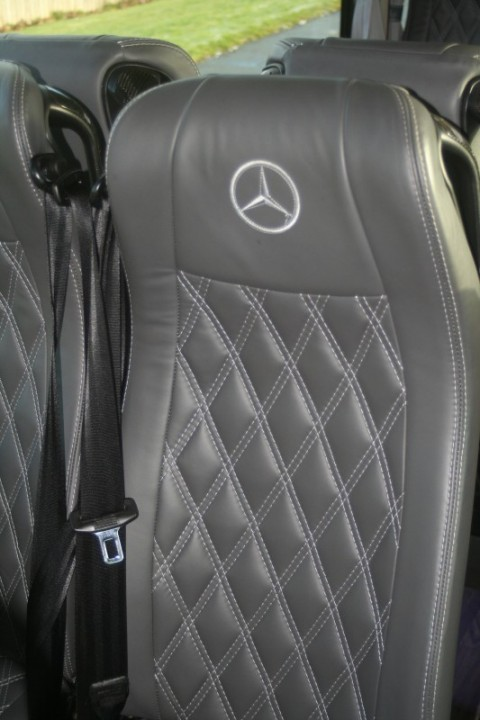 cross stitch full leather seats with mercedes emblem