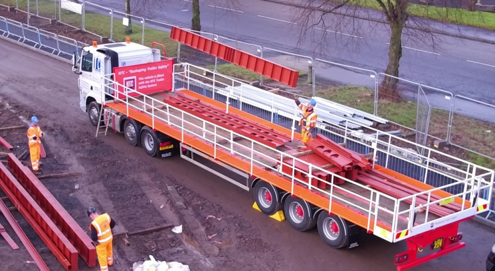 Safe loading from Flatbed Trailer Lorry
