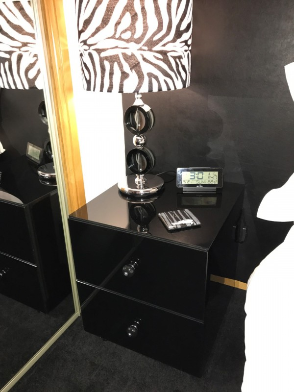 Bed Side Cabinet in Black Glass
