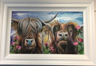 Highland Cows With Thistles