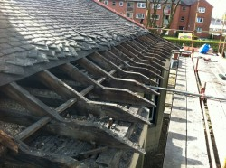 This semi detached 1920's villa in Giffnock had collapsed trusses along the front elevation.  The roof was stripped, temporarily supported then new truss members installed.  The roof was then re-constructed with new sarking felt and re-dressed Scotch Slate.  There was no internal inconvenience to the client during the course of the works.
