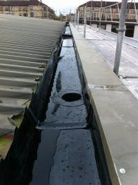 Turner Hire Drive is another of the Turner Group of companies whom we work for.  The roof edge box gutter on this occasion was leaking badly internally.  A cost effective solution was to line the entire box section and vortex outlets with Plygene.  This solution was both time efficient and financially economic for the client, with the whole project being completed within 4 days.