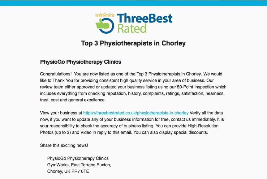 We are one of the best 3 Physiotherapy practices in Chorley, according to threebestrated.co.uk